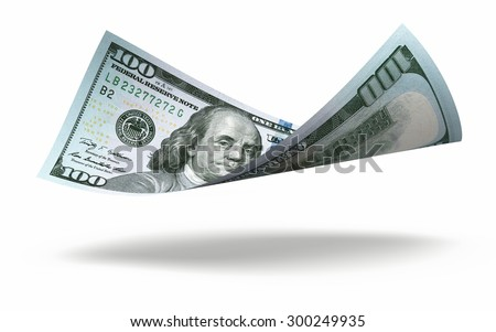 New Hundred dollar banknote close-up (isolated and clipping path) - stock photo