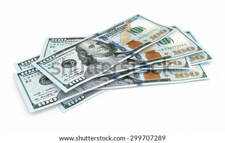 New Hundred dollar banknotes closeup (isolated and clipping path) - stock photo