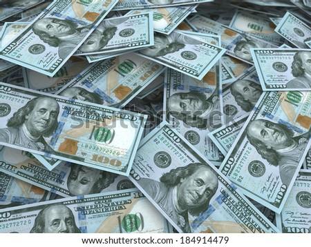 New hundred dollar bill stacks (depth of field) - stock photo
