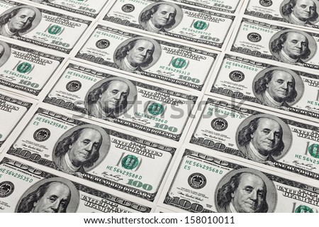 New Hundred Dollar Bills for background - stock photo