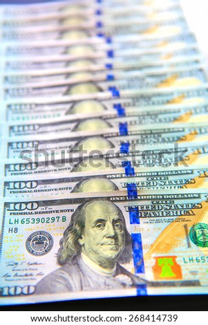 new hundred dollar bills shallow dof - stock photo