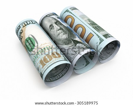 New Hundred dollar roll banknotes closeup (isolated and clipping path) - stock photo