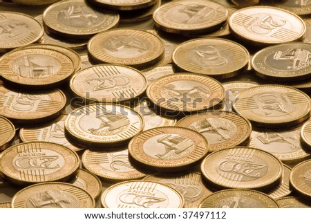 NEW Hungarians twohundred forint.Heap coins - stock photo