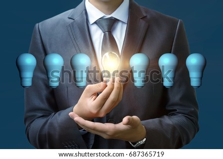 New idea concept , a businessman hand holding light bulb.