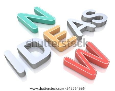 New ideas, words on a white background with colorful alphabets  - stock photo