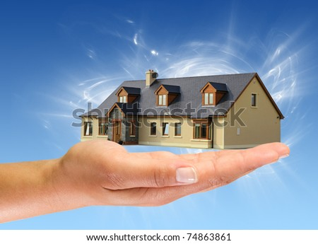 New idyllic house for you - stock photo