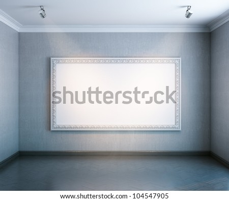 new interior gallery with wooden parquet and empty big frame (grey color version) - stock photo