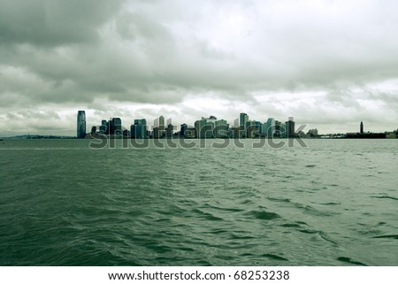 New Jersey city skyline with a green tone - stock photo