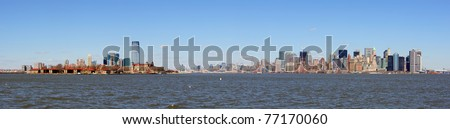 New Jersey Hoboken and New York City Manhattan downtown skyline panorama over Hudson River with skyscrapers and blue clear sky - stock photo