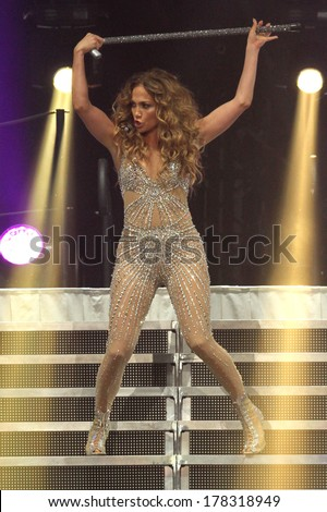 NEW JERSEY - JULY 20, 2013: Jennifer Lopez performs at the Prudential Center in Newark, New Jersey on July 20, 2013.