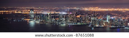 New Jersey panorama night view from New York City Manhattan with Hudson River and skyscrapers. - stock photo