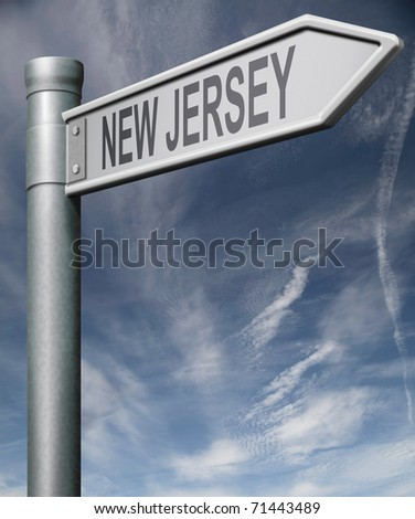 New Jersey road sign arrow pointing towards one of the united states of america signpost with clipping path