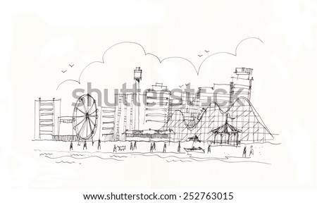 New Jersey's beach, New York skyline hand drawing illustration - stock photo