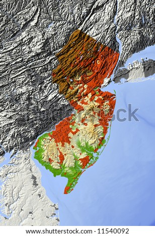 New Jersey. Shaded relief map.  Surrounding territory greyed out, shows major urban areas and rivers.  Colored according to relative elevation. Clipping path for state area included. - stock photo