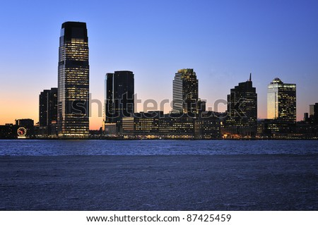 New Jersey Skyline with skyscrapers at night, USA - stock photo
