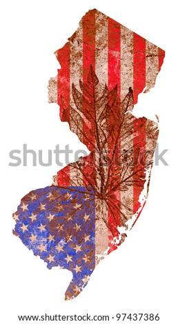New Jersey state of the United States of America in grunge flag pattern isolated on white background - stock photo