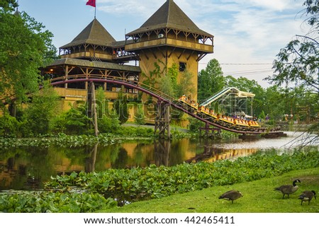 NEW JERSEY USA - JUNE 20 2016: The beautiful Six Flags Great Adventure amusement park with great reflections at New Jersey, USA