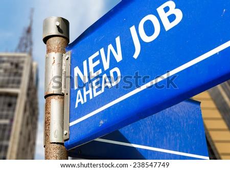 New Job Ahead blue road sign - stock photo