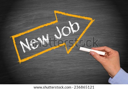 New Job - chalkboard with female hand and arrow - stock photo