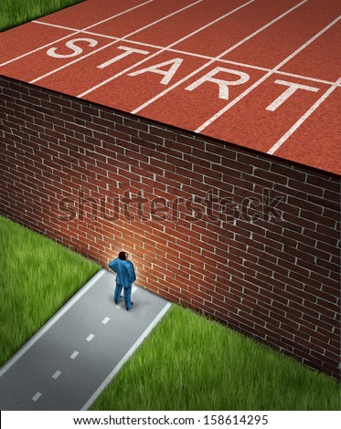 New job challenges concept with a business and financial obstacles metaphor as a businessman standing in front of a large brick wall blocking a track and field path obstructing a journey to success. - stock photo