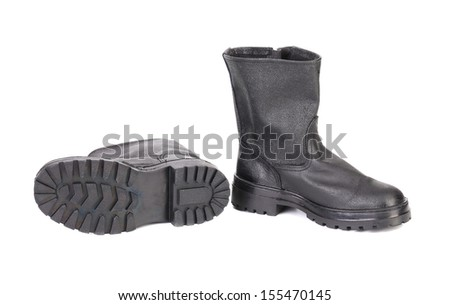 New kersey boots. Isolated on white background. - stock photo