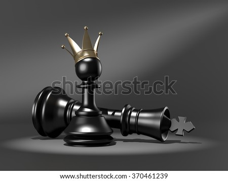 New King , Pawn with golden crown , 3d render - stock photo