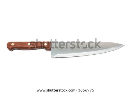 New kitchen knife on a white background - stock photo