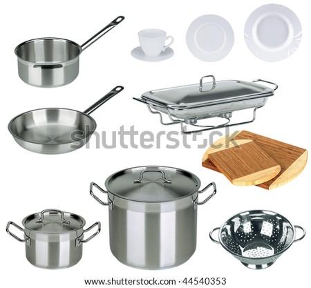 New kitchen set isolated on white background - stock photo