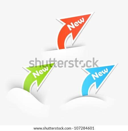 New labels. Arrow design elements - stock photo