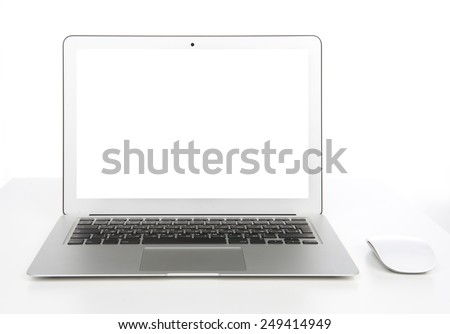 New laptop display with keyboard and mouse with blank screen  on a white background - stock photo