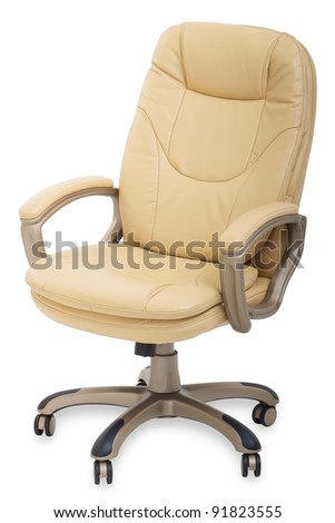 new Leather office chair on wheels isolated on white background - stock photo