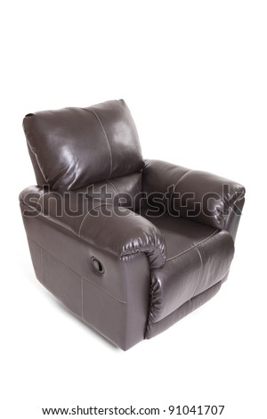 New leather recliner chair isolated on a white background - stock photo