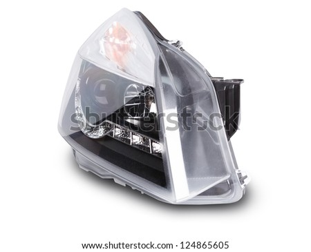 new  lens car headlights - stock photo