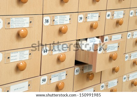New Library Card Catalog - stock photo