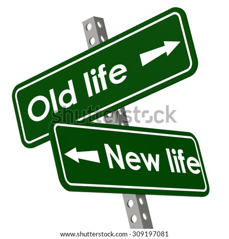 New life and old life road sign in green color image with hi-res rendered artwork that could be used for any graphic design. - stock photo