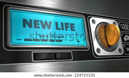 New Life- Inscription on Display of Vending Machine. Business Concept. - stock photo