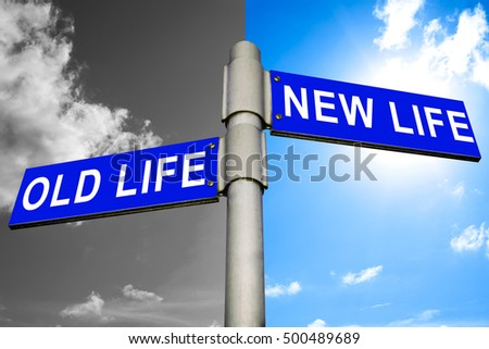 New life old life road sign on sky background, business concept