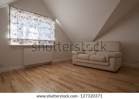New living room in bright colors, modern interior - stock photo