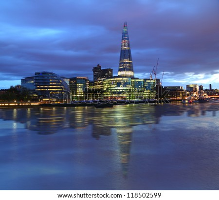 New London city hall at night , panoramic view from river. - stock photo