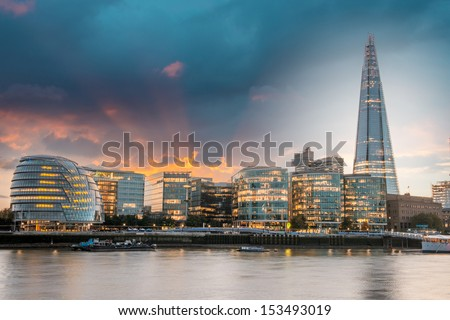 New London city hall at sunset, panoramic view from river - stock photo
