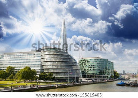 New London city hall with Thames river, panoramic view from Tower Bridge - UK - stock photo