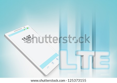 New LTE technology for mobile highspeed internet with smartphone - stock photo