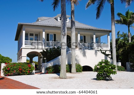 New Luxury Beach House - stock photo
