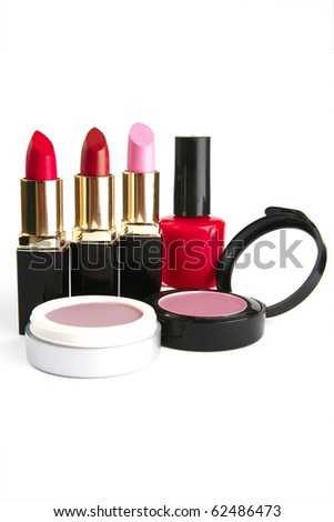 new makeup set isolated on white background - stock photo