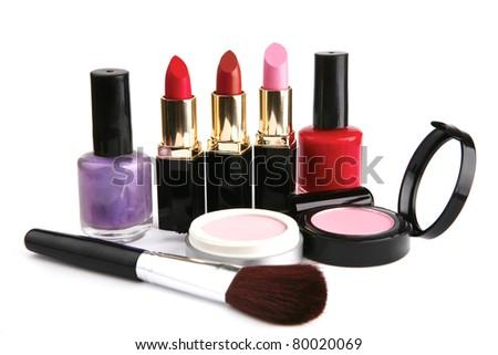 new makeup set isolated on white background - stock photo