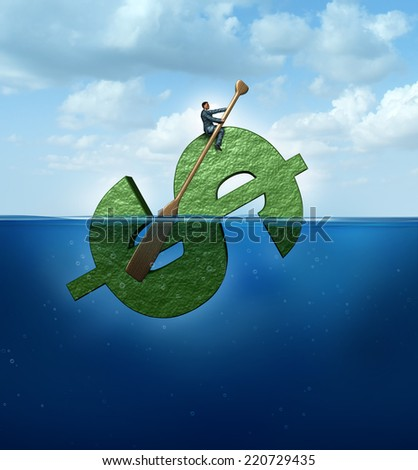 New markets concept as a financial journey business concept as a businessman floating in the ocean on a giant dollar sign boat rowing with a paddle the object to a success destination. - stock photo