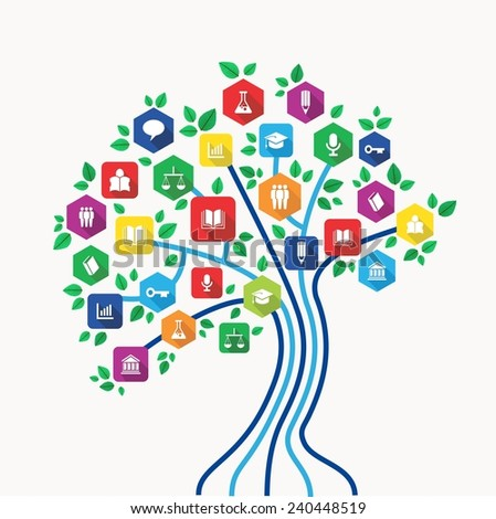 New media technology education and e-learning concept tree with back to school subjects icon set. - stock photo