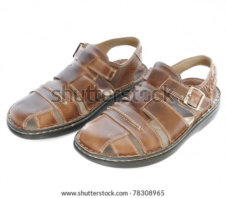 New men's fashion sandals isolated on white - stock photo