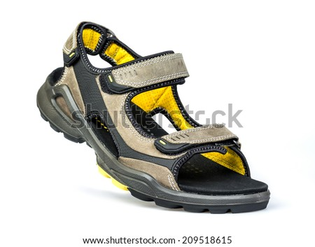 new men's sandals on a white background - stock photo