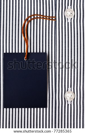 New men's shirt and blank label - stock photo